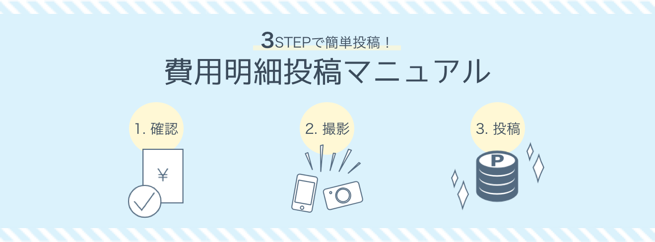 3stepで簡単投稿。費用明細投稿マニュアル
