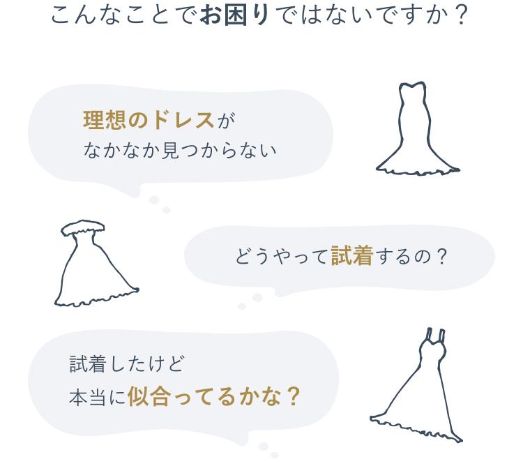 理想のドレスがなかなか見つからない どうやって試着するの? 試着したけど本当に似合ってるかな?