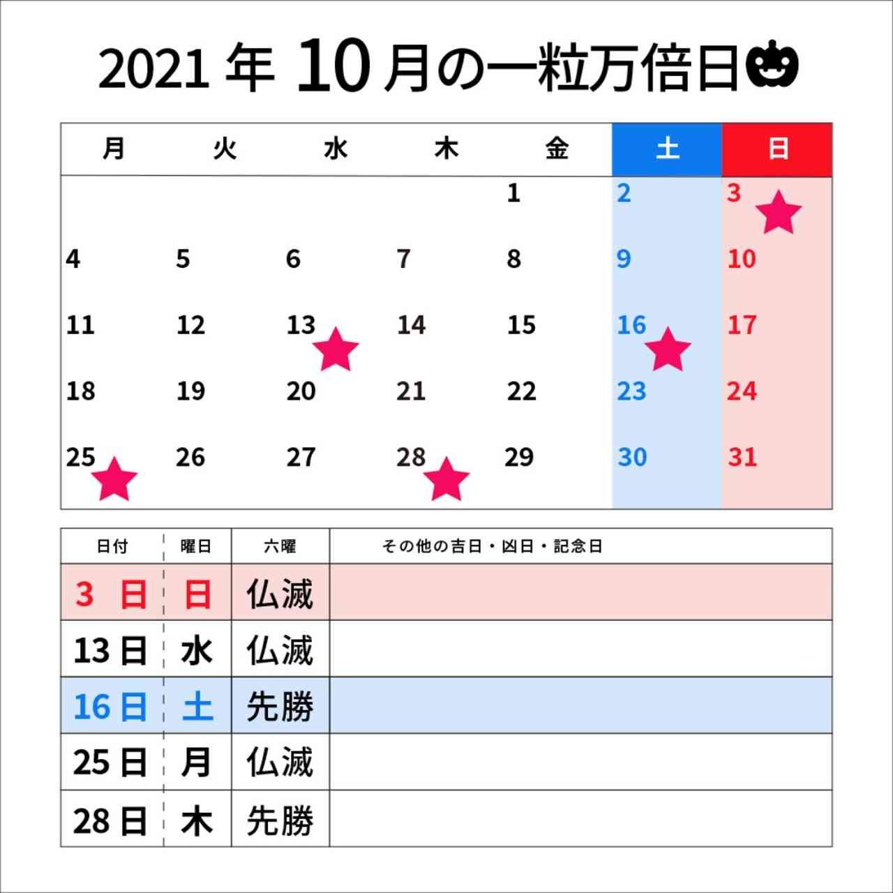 2021 年 10 月 カレンダー