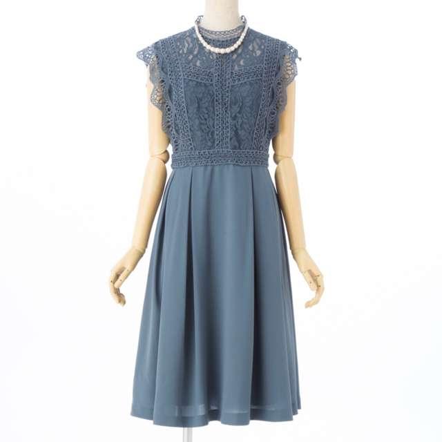 深めのブルーグレーの結婚式お呼ばれフェミニン・かわいい系おすすめドレス・ワンピース